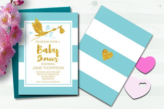 Baby Shower Invitation for Baby Girl or Baby Boy in Blue and Pink