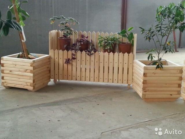 Декоративные деревянные решетки И горшки