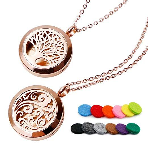 Stainless Steel Locket Pendant with 12 Refill Pads VALYRIA Tree of Life Aromatherapy Essential Oil Diffuser Necklace