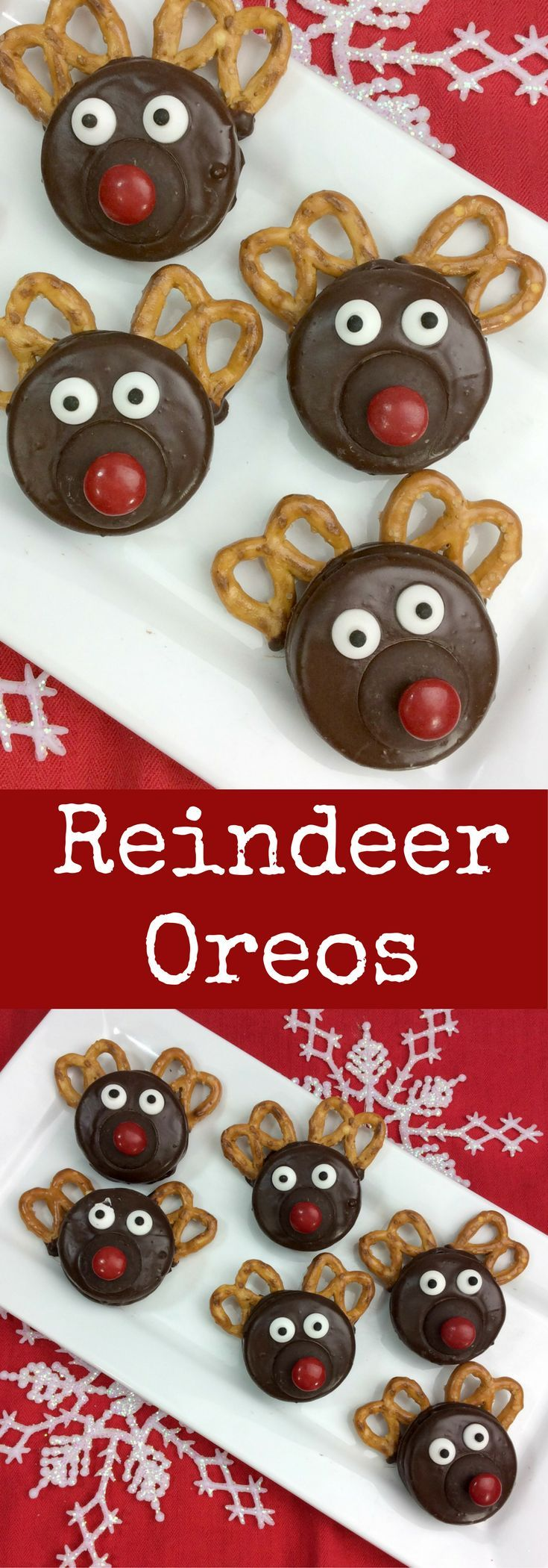 Easy Chocolate Covered Oreo Rudolph the Red Nosed Reindeer Recipe #holidayrecipes #oreorecipe #EasyRecipes #recipesforkids