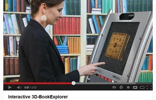 Feira na Alemanha mostra tecnologia que explora livros antigos em 3D  Antes, livros medievais só podiam ser tocados com luvas.  Explorador permite ler textos em latim de forma interativa.
