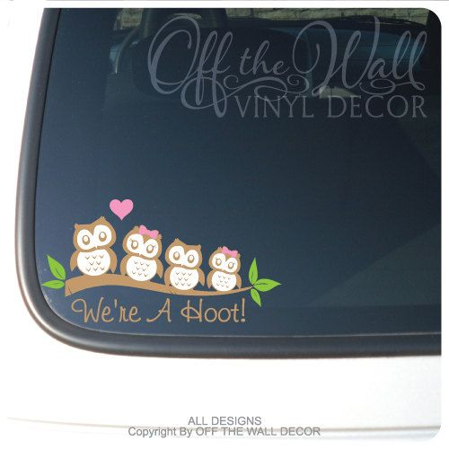 Owl Family Car Decals    This is for up to Any 8 Owl Family Members,    The Owl Family has the following members:  Dad 3  Mom 2.8  Teen Boy