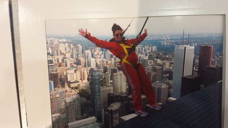 This is me in 2014 when I did the CN Tower Edge Walk. I'm deathly scared of heights and did this to push myself out of my comfort zone, something I've been doing a lot of since!! Next on the list zip lining on May 29!