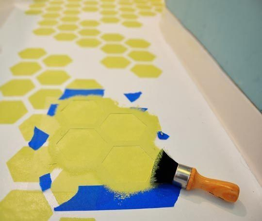 How To Repaint & Stencil Ugly Rental Vinyl Tile Flooring Home Hacks | Apartment Therapy