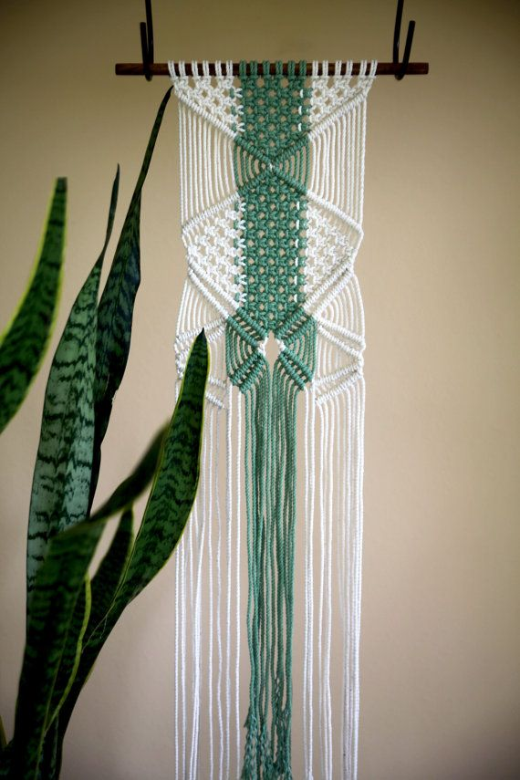 50% OFF - Macrame Wall Hanging in Green & White by BermudaDream, boho chic decor More