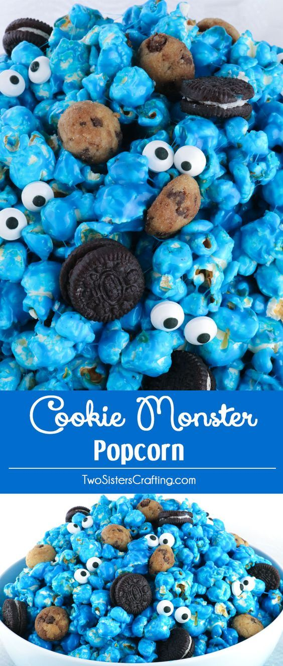 Yummy and adorable Cookie Monster Popcorn - sweet and salty popcorn mixed with mini cookies and googly monster eyes.  It is both fun and delicious a great combination!  A fun anytime snack that would also be a great Party food at a Cookie Monster Birthday Party or a Sesame Street Birthday Party.  Pin this easy to make dessert for later and follow us for more great Popcorn Recipe Ideas.