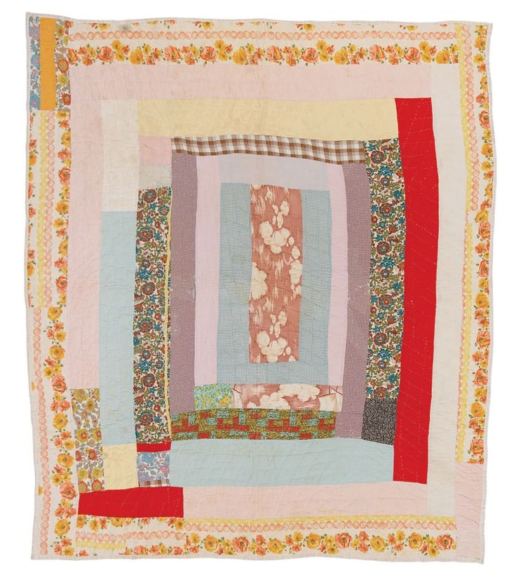 """Gearldine Westbrook, born 1919. Center medallion -- """"Bars,"""" ca. 1960, cotton, wool, printed terry cloth, 79 x 70 inches"""