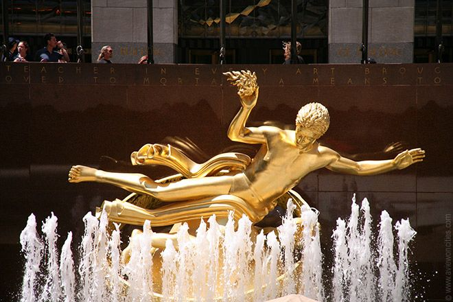Prometheus statue, Rockerfeller Center. 5th Ave., near Saks and St. Patrick's, between 47th and 50th.
