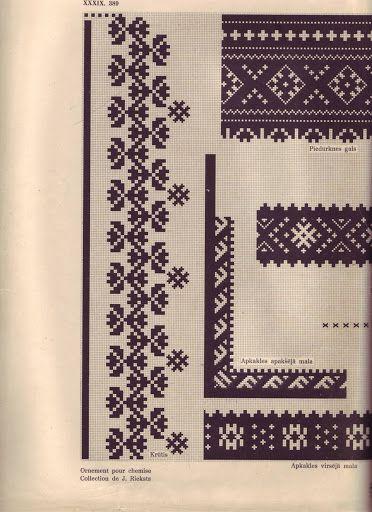 Kreklu raksts - Traditional shirt embroidery pattern - Bārta, Latvia.