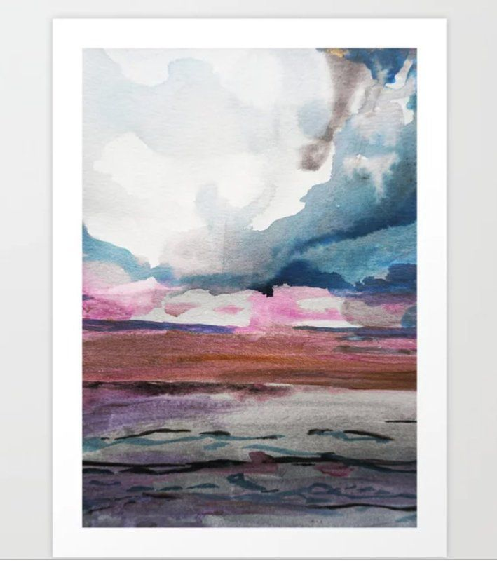 Seascape Painting Pink Blue Abstract Seascape Watercolor Clouds Beach At Sunset Wall Art Ocean Art Ocean Print Minimal Decor