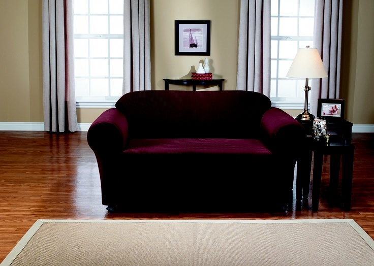 Montgomery II Merlot Sofa Slipcover. Deeply embossed box pattern with a soft luscious surface, form fit slip cover upholstery, living room, beautiful interior design, chic home decor