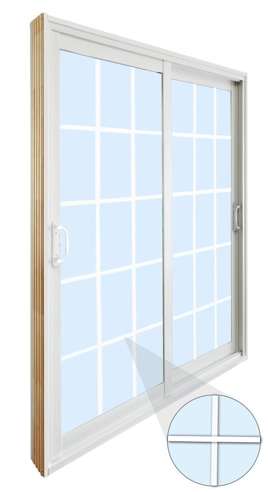 59.75 inch x 79.75 inch Clear LowE Argon Prefinished White Double Sliding Vinyl Patio Door with 7-1/4 inch Jamb and 15-Lite Internal Grill