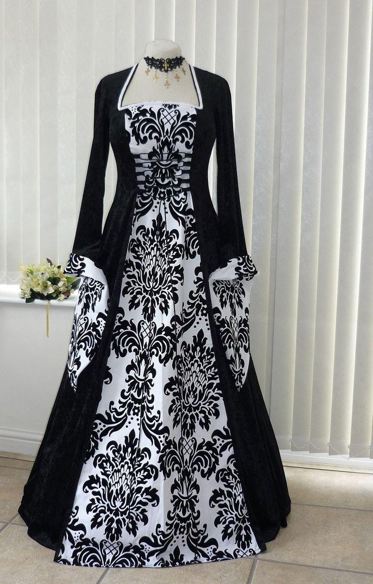 Médiévale gothique Noir et Blanc Gras Robe de Mariée