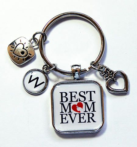 Best Mom Ever Keychain Keyring with charms Key Ring for Mom