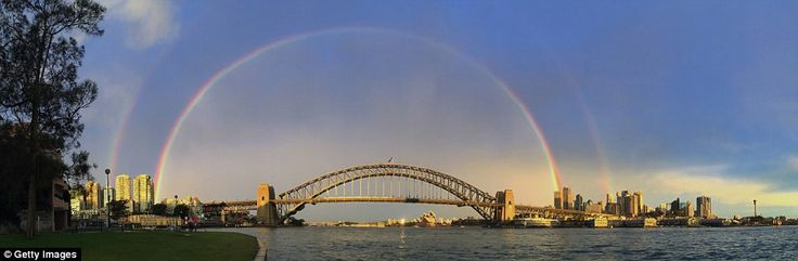 Somewhere over the rainbow - the stunning kaleidoscope of colours showed Sydney in its pre...