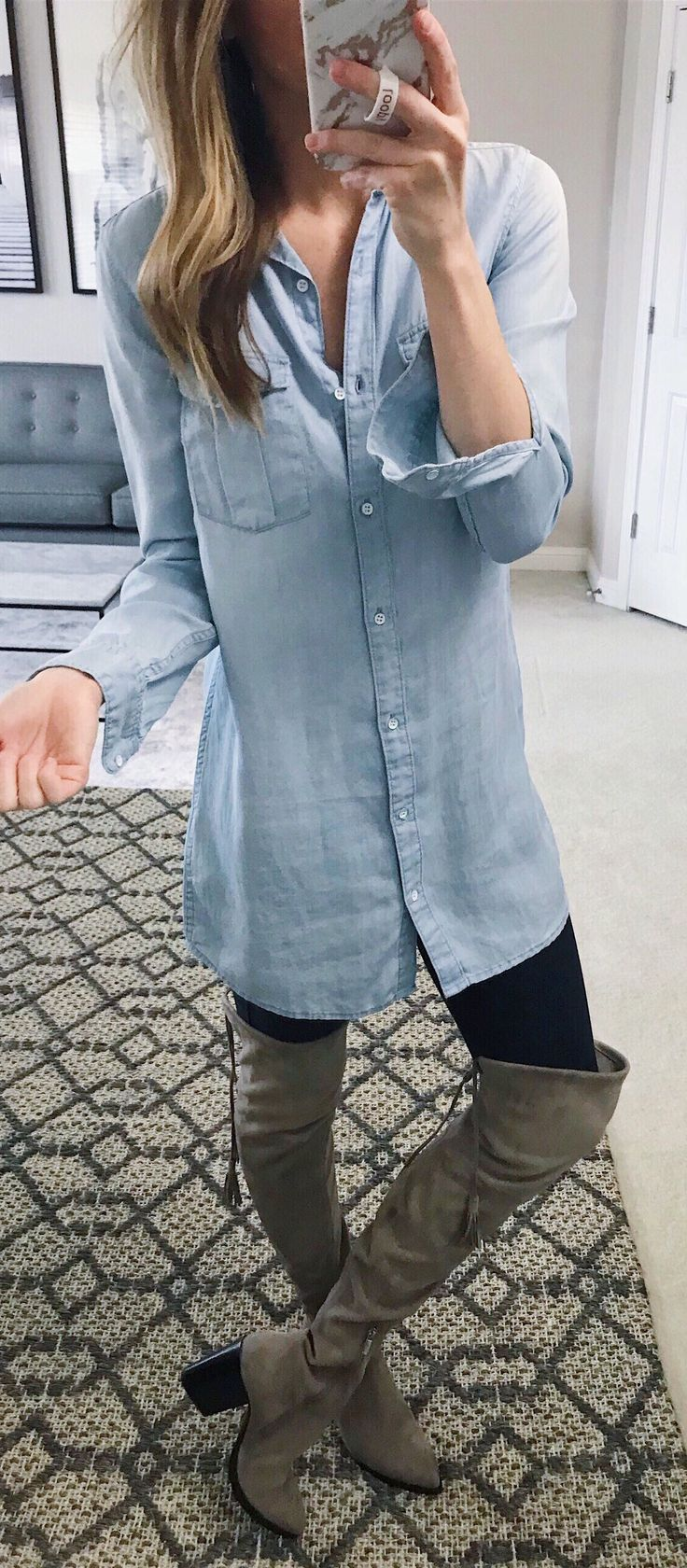 #winter #outfits blue dress shirt and pair of gray boots. Pic by @leeannebenjamin.