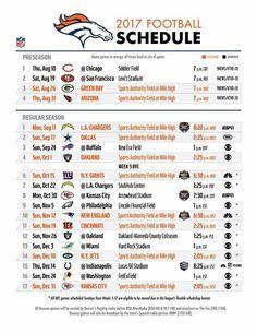 2017 Denver Broncos Schedule