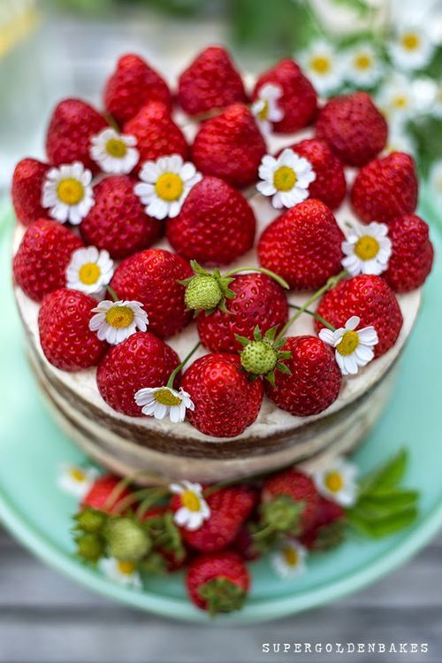 ...Strawberries and cream naked cake | supergolden bakes