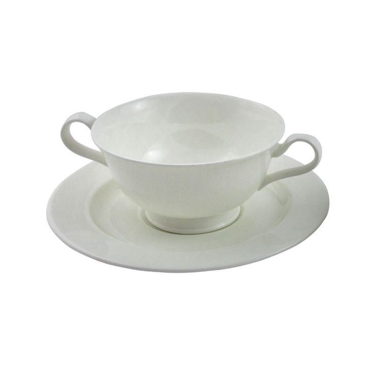 Verona 9oz Soup Cup and Saucer - This dining range can be accompanied by either the contemporary cutlery ranges such as the Mercury, Monteverdi and Mascagni designs but equally works well with the EPNS Jesmond or Kings traditional ranges. This range is stocked at our London depot and is available at other locations with advance notification. The Vina or Karisma glassware look divine with this fine elegant range of bone china.