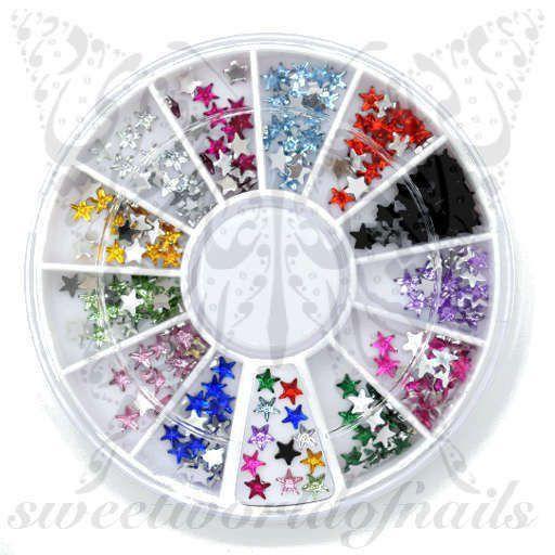 Star 3D Nail Rhinestones Charms Wheel-12 Colors