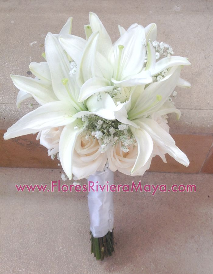 Roses And Lilies Bouquet Weddings Playadelcarmen Cancun Wedding Florist