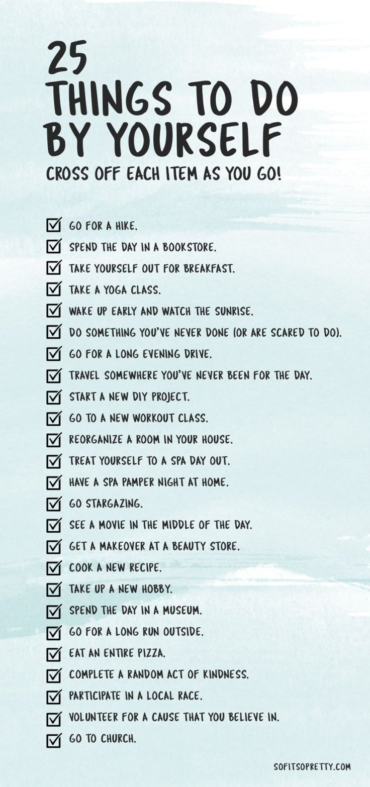 25 Things to do By Yourself (+Printable Checklist Self