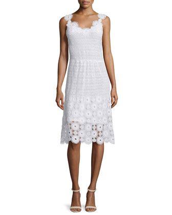 Goranna+Sleeveless+Lace+Dress,+White+by+Elie+Tahari+at+Neiman+Marcus.