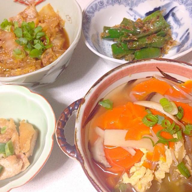 スープが人気でした(*^_^*) - 7件のもぐもぐ - 野菜たっぷりスープ、ピーマンおかか和え、白菜とツナの煮物、親鳥 by ハリー