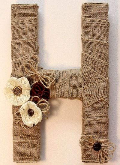 Customize your space with a DIY monogrammed letter. Give it a rustic look with hessian/ burlap, too!