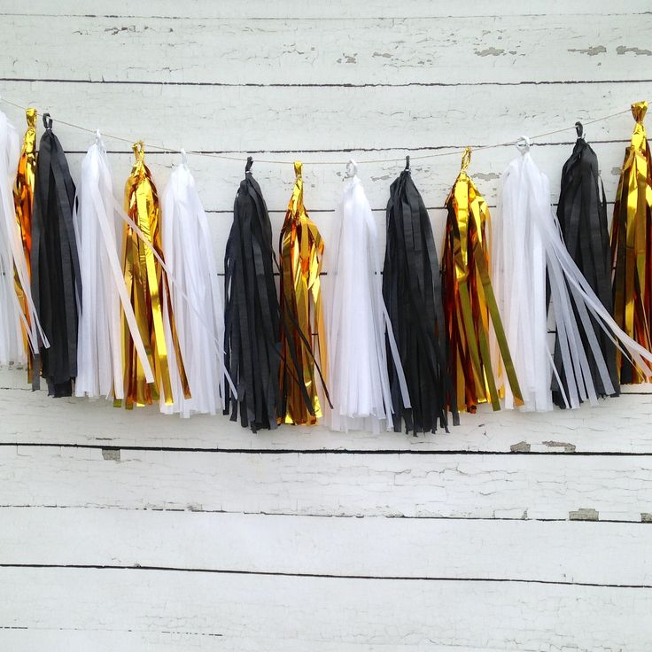 Black and Gold Chic New Year's Tissue Tassel Garland Kit