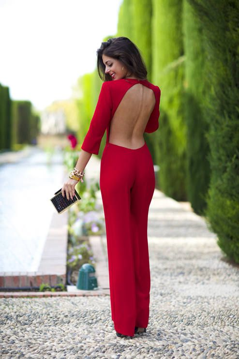 Red Backless Cocktail Jumpsuit...and you must have a perfect back to look as good as her from behind
