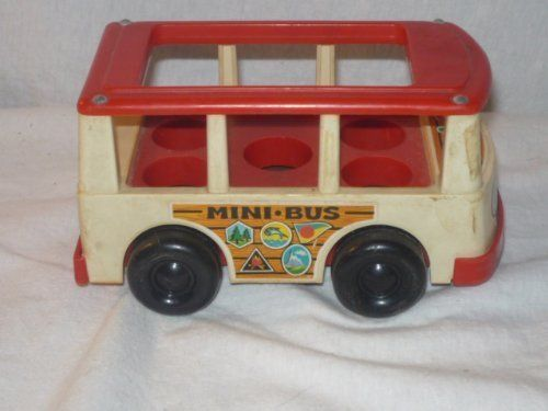 #vintagetoys #deals #toys VINTAGE 1969 FISHER PRICE LITTLE PEOPLE MINI BUS- SITS 5 PEOPLE