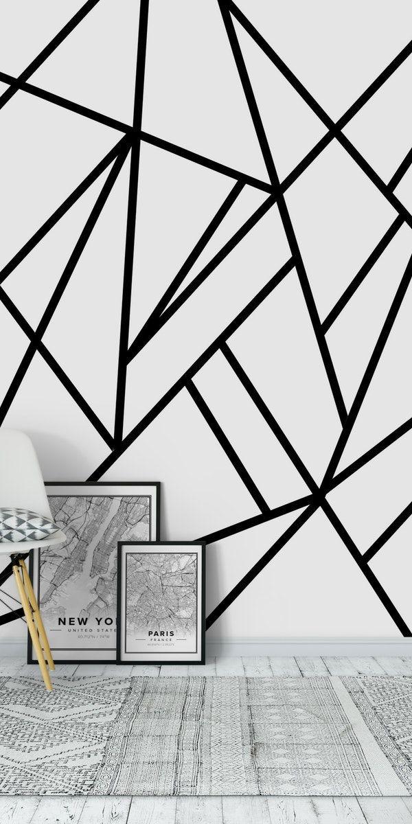 Classic Black White Geo 2 Wall Mural Black And White Wallpaper Wall Murals Classic Black White