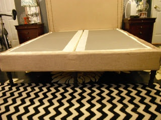 Faux Bedframe - Fabric wrapped box spring with furniture legs