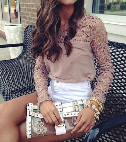2014 New Womens Casual Long Sleeve Shirt Lace Crochet Emboriey Loose Tops  Blouse in Clothing, Shoes & Accessories