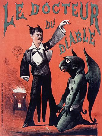 Vintage Poster ( Magic / Retro / Devil / Red / Illustration / Halloween French )