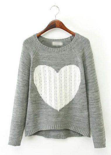 Cute Long Sleeve Heart Pattern Grey Asymmetric Sweater