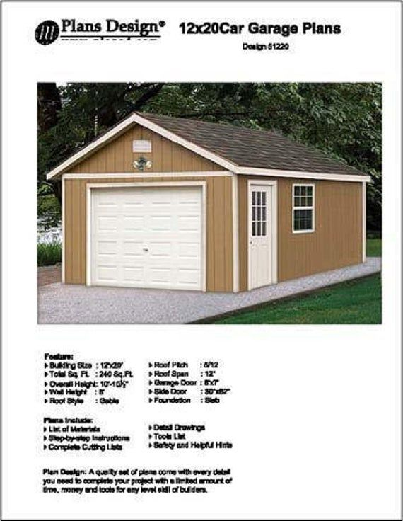 12 X 20 Garage Workshop Storage Shed Building Etsy Garage Plans Project Storage Material Shed Building Workshop Loft 20x20 Bluepr In 2020 Do It Yourself Design