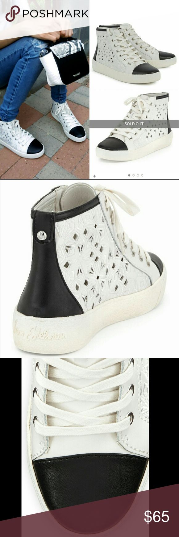 "NIB Sam Edelman Branson Embroidered-Cutout Sneaker Check it out on HSN. Street-smart style: Snowflake perforations lend delicate geometric edge to an urban sneaker. A platform lends comfortable lift to the sporty silhouette. Lace-up closure. Rubber sole. SOLD OUT. New in box, never worn.  Leather: Cowhide. Imported 1 1/4"" heel; 1"" platform (size 9). Leather and synthetic upper/synthetic lining and sole Black/white Sam Edelman Shoes Sneakers"