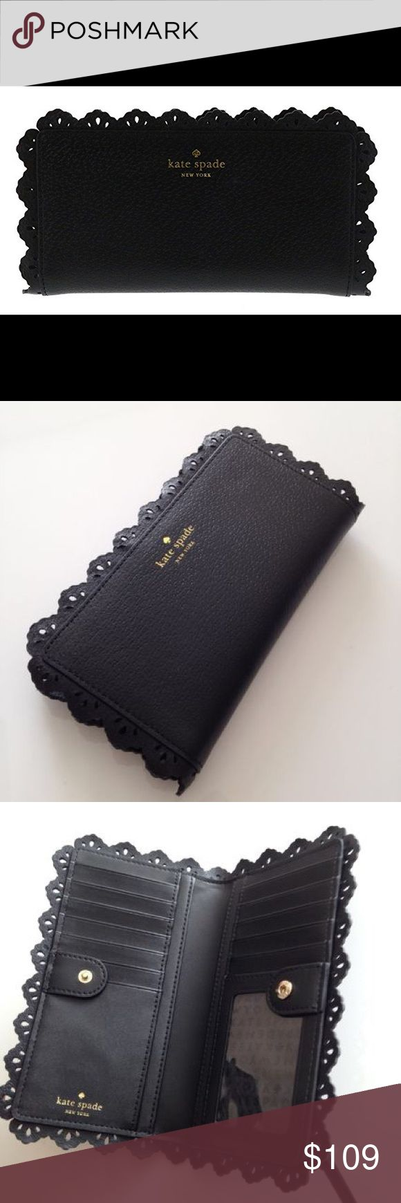 JUST IN! ♠️Kate Spade Stacy Fordam Court Wallet♠️ zip closure ·         Kate Spade New York embossed leather wallet with laser etched decorative frill ·         Gold toned embossed brand name and logo in front ·         Partially gusseted zip pocket in the back ·         Interior features 13 card slots, 1 ID slot, and 4 slip pockets ·         Approx. dimensions: 7.5 in (L) x 4 in (H) x 0.75 in (W) kate spade Bags Wallets