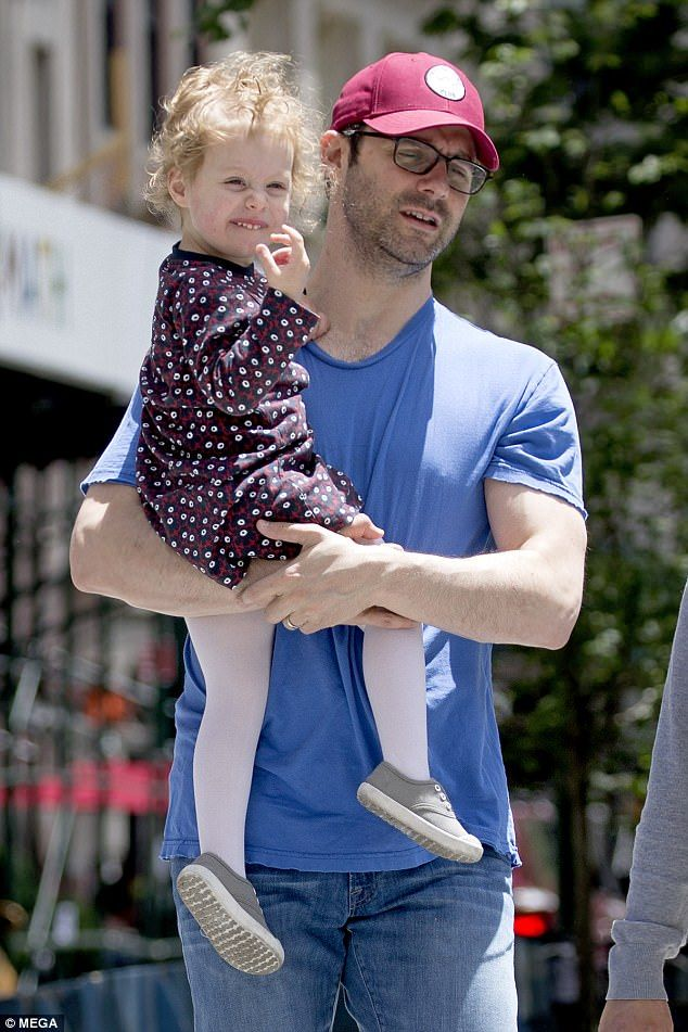 Daddy day care: She was followed out the front door by her husband Marc Mezvinsky, with th...