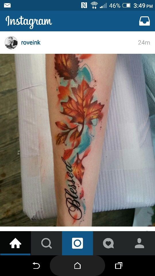 Watercolor tattoo fall leaves blessed