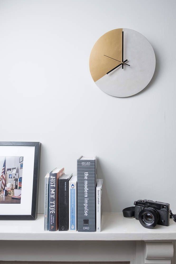 Concrete and Gold Wall Clock | Industrial Luxe | Minimalist | Home Decor | Metallics | Timepiece | Design | Gold | Cement | Silent Movement by ConcreteAlphabet on Etsy https://www.etsy.com/uk/listing/515002590/concrete-and-gold-wall-clock-industrial