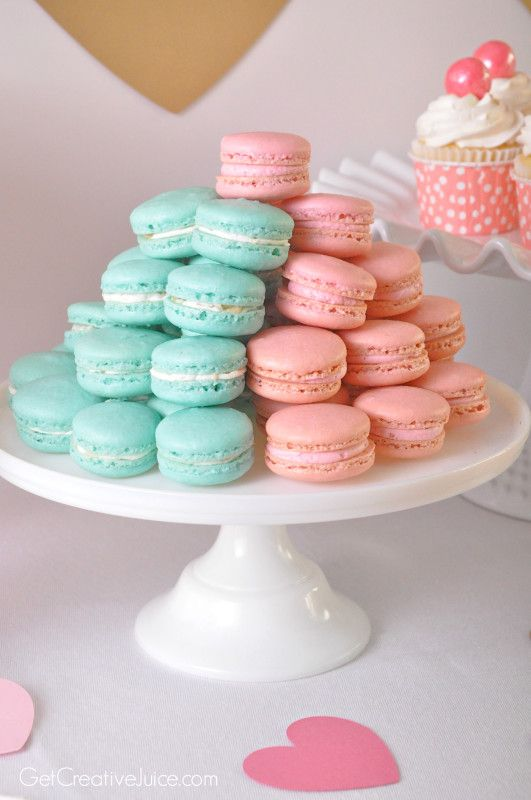 raspberry pink macarons and blue coconut macarons