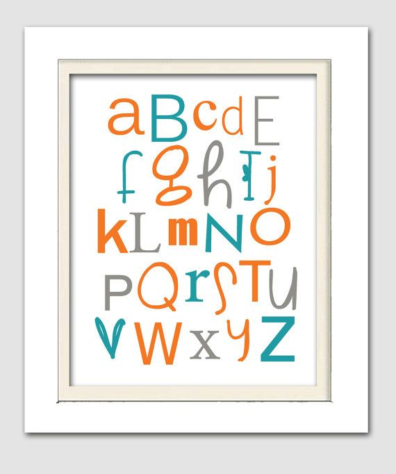 Orange and teal nursery, Abc Wall Art, Abc Wall decor, Orange and blue nursery, 8x10 print, Choose your colors