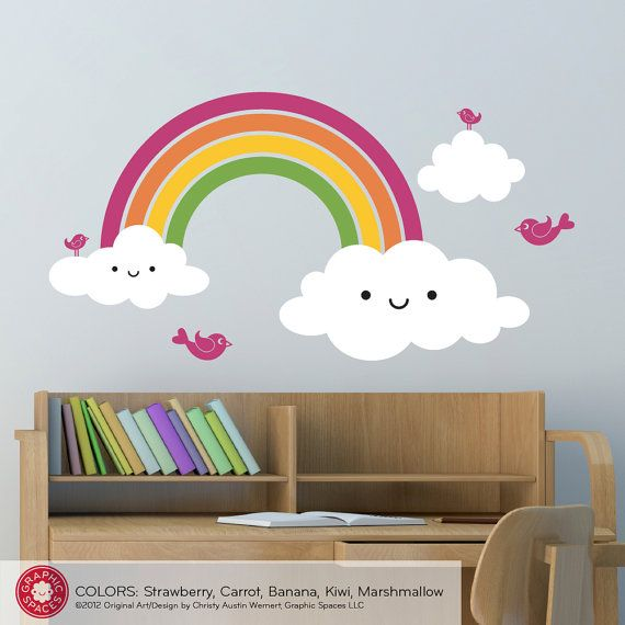 Happy Rainbow Wall Decal for Baby Nursery by graphicspaces on Etsy, $50.00