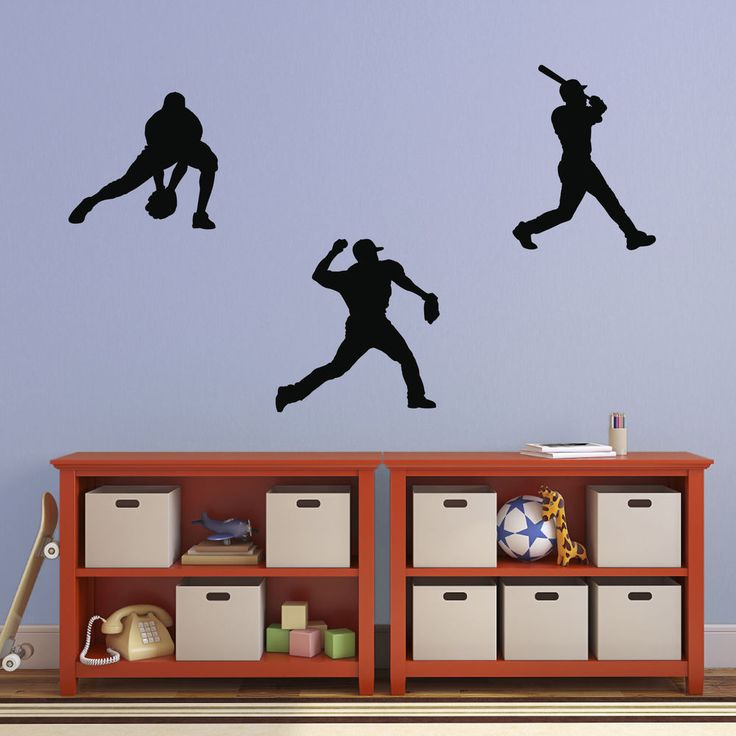 Baseball Wall Decal Pack   Sport Wall Art Stickers   3 Player Silhouettes  In Home,