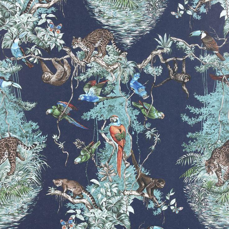 Papier Peint HERMES, Création emblématique de Robert Dallet réalisée en 1988, une vision à grande échelle de la faune et de la flore équatoriales