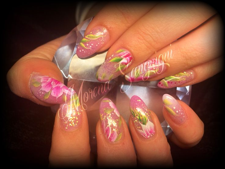 Hand painted nails one stroke acrylic pink