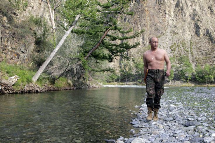 Vladimir Putin shirtless while vacationing and hunting in Siberia. The now Russian President is a judo black belt. [2009]